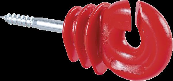 25 Stk. Qualitäts-Ringisolator, mit Holzgewinde, rot, 6 mm Schaft