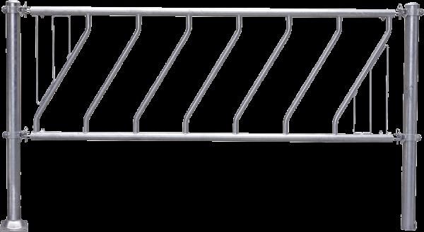 Schrägfressgitter Jungvieh, Nennlänge 4 m, 9 Fressöffnungen, mit Mittelstütze