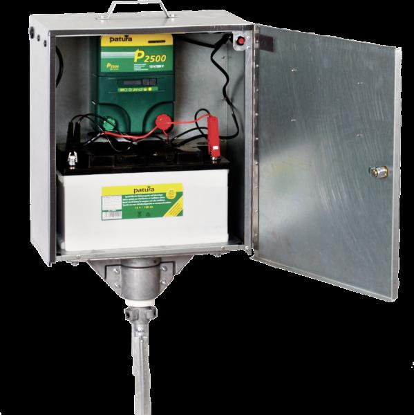Patura P2500 mit elektrifizierter Sicherheitsbox und Erdstab, Kombi-Weidezaungerät 230V/12V