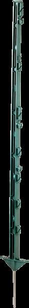 10 Stk. 1,05 m Kunststoffpfahl, grün, 7 Draht- + 2 Seilhalter, doppelte Trittstufe, Eisenspitze