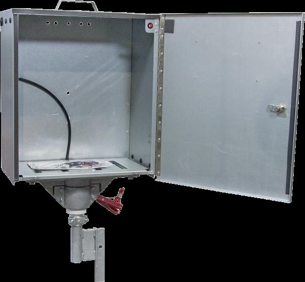 Elektrifizierte Sicherheitsbox für Weidezaungeräte (mit Aufstellpfahl)