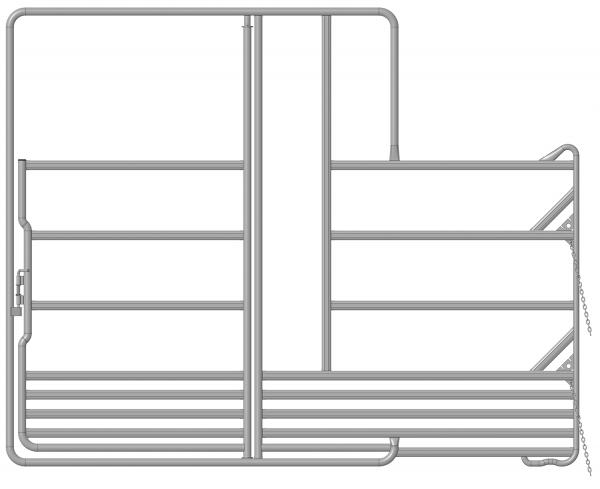 Sicherheits-Pferdepanel mit Tor und Fressplatz, Länge 3,60 m, Höhe 2,40 m