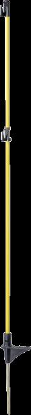 10 Stk. Oval-Glasfiberpfahl, 1,10 m, mit Trittstufe, Metallspitze und 2 Isolatoren