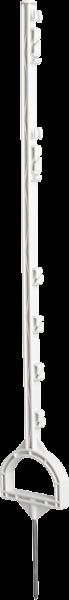 10 Stk. 1,15 m Steigbügelpfahl, Kunststoffpfahl, weiß, mit Steigbügelfußtritt, 6 Drahthalter