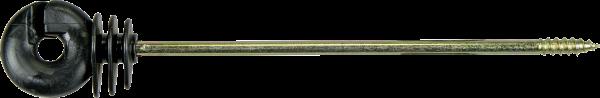 10 Stk. Ringisolator, mit langem Schaft, gerade, Schaftlänge 18 cm, Holzgewinde