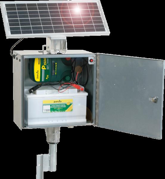 Patura P1500 mit elektrifizierter Sicherheitsbox und Erdstab, Kombi-Weidezaungerät 230V/12V