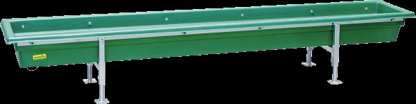 Futtertrog für Kälber und Schafe, Kunststoff, Gestell vz, höhenverstellbar, Länge 2,5 m