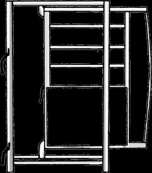Rahmen mit Schiebetür, Breite 0,90 m, Höhe 2,05, lichte Durchgangsbreite 70 cm