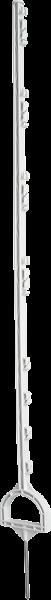 10 Stk. 1,55 m Steigbügelpfahl, Kunststoffpfahl, weiß, mit Steigbügelfußtritt, 8 Drahthalter