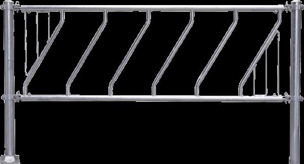 Schrägfressgitter, Nennlänge 6 m, 12 Fressöffnungen, mit Mittelstütze