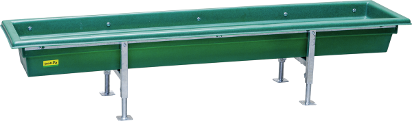 Futtertrog für Kälber und Schafe, Kunststoff, Gestell vz, höhenverstellbar, Länge 2 m