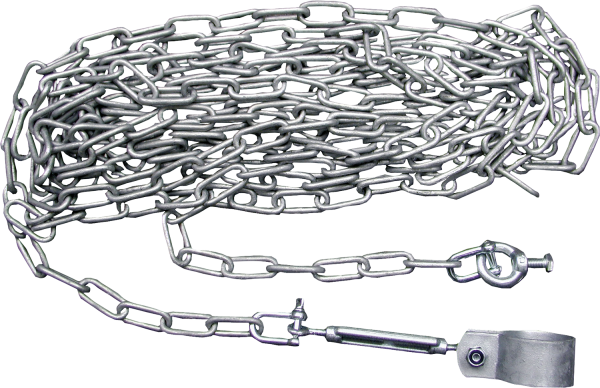 Abhängung für Tore, mit 8 m Kette, Vollschelle, Spannschloss, Schäkel, vz