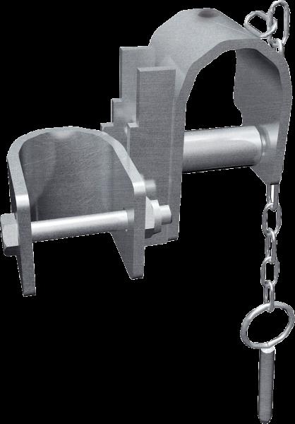 Schelle oben mit Feststellbolzen zum Rahmen zur Halsweiteneinstellung