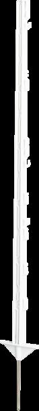 10 Stk. 1,05 m Kunststoffpfahl, 7 Draht- + 2 Seilhalter, doppelte Trittstufe, Eisenspitze