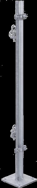 Pfosten L= 1,35 m, mit Bodenplatte zur Montage von Fressgittern an Panels