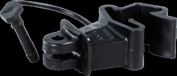 25 Stk. Standard-Isolator mit Stift für T-Pfosten, schwarz, für Draht, Litze, Seil